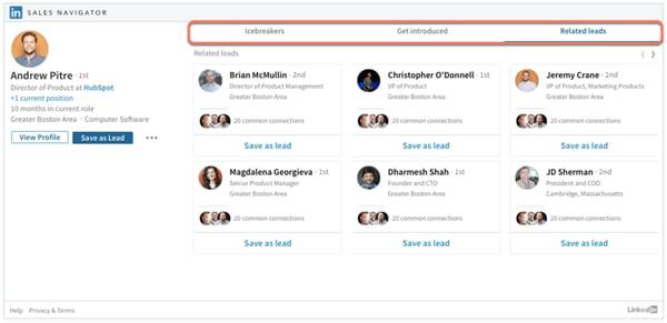 LinkedIn Sales Navigator - Kontakte Registerkarte