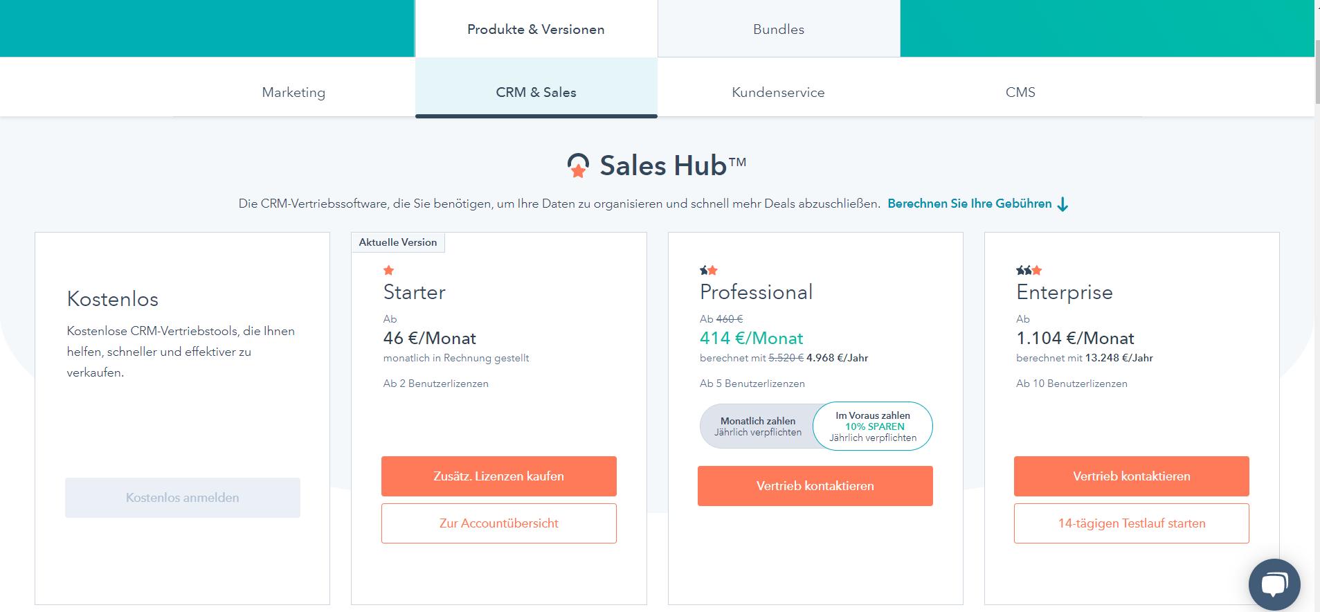 Hubspot_Preise CRM & Sales