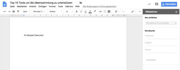 Screenshot von dem Google Docs Interface.