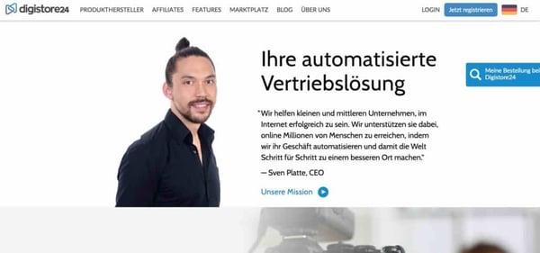 Screenshot der digistore24 Homepage