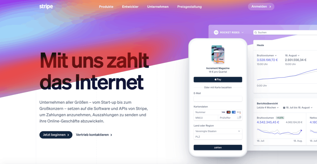 Stripe - Screenshot der Homepage