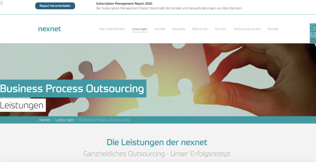 nexnet - Screenshot der Homepage