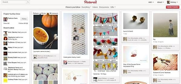 Screenshot von dem Pinterest Interface.